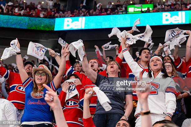 Fans enjoy the atmosphere in Game Five of the Eastern Conference Semifinals between the Montreal Canadiens and the Tampa Bay Lightning during the...