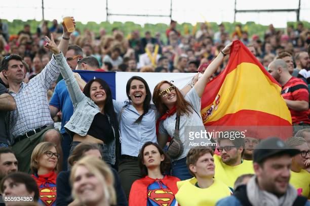 Fans enjoy the atmosphere on Day 2 of the Rugby Oktoberfest 7s tournament at Olympiastadion on September 30 2017 in Munich Germany