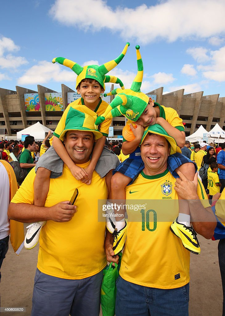 Fans enjoy the atmosphere prior to the 2014 FIFA World Cup Brazil Group C match between Colombia and Greece at Estadio Mineirao on June 14, 2014 in Belo Horizonte, Brazil.