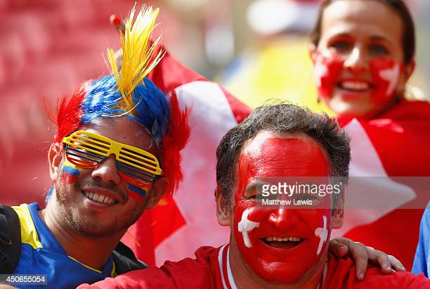 Fans enjoy the atmosphere prior to the 2014 FIFA World Cup Brazil Group E match between Switzerland and Ecuador at Estadio Nacional on June 15 2014...