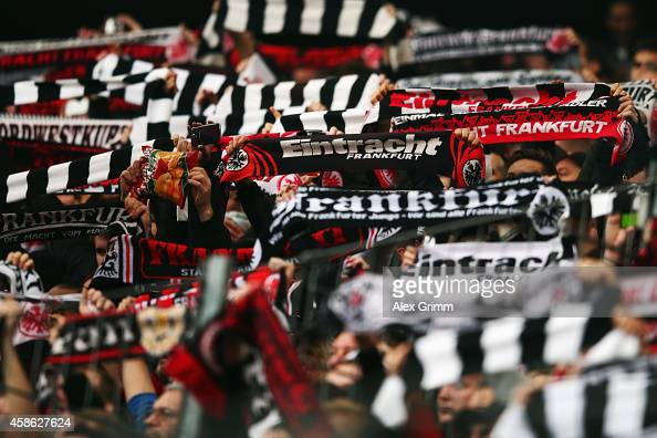 Fans enjoy the atmosphere prior to the Bundesliga match between Eintracht Frankfurt and FC Bayern Muenchen at CommerzbankArena on November 8 2014 in...