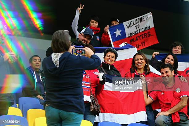 Fans enjoy the atmosphere prior to the FIFA U17 World Cup Chile 2015 Quarter Final match between belgium and Costa Rica at Estadio Municipal de...