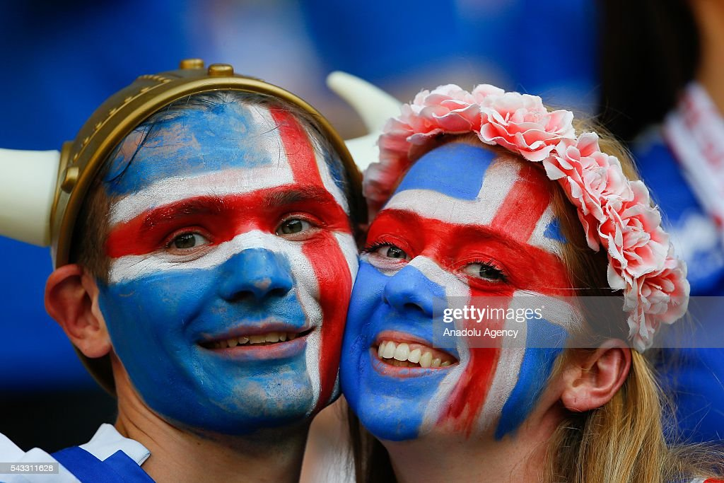 Fans enjoy the atmosphere prior to the UEFA Euro 2016 Round of 16 football match between Iceland and England at Stade de Nice in Nice, France on June 27, 2016.
