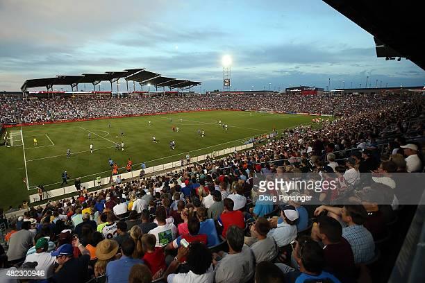 Fans enjoy the game as the MLS AllStars face the Tottenham Hotspur during the 2015 ATT Major League Soccer AllStar game at Dick's Sporting Goods Park...