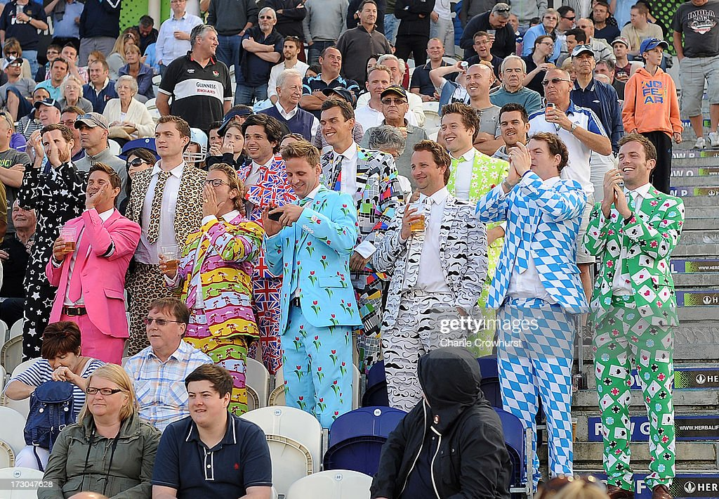 Fans enjoy the match during the Friends Life T20 match between Sussex Sharks and Hampshire Royals at The Brighton and Hove Jobs County Ground on July 05, 2013 in Hove, England.