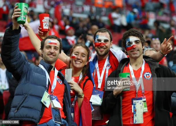 Fans enjoy the pre match atmosphere prior to the FIFA Confederations Cup Russia 2017 Group B match between Germany and Chile at Kazan Arena on June...