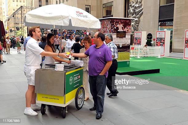 Fans enjoy traditional Wimbledon treat strawberries and cream at HSBC Bank presents Wimbledon 2011 At Rockefeller Center at Rockefeller Center on...