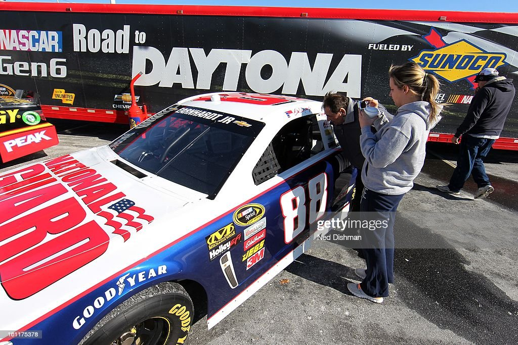 NASCAR fans enjoy viewing the next generation of racecars during a Road to Daytona Fueled By Sunoco Tour stop at the Sunoco Station on February 9, 2013 in Newark, Delaware.