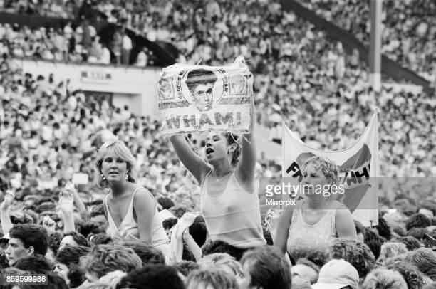 Fans enjoy Wham The Farewell Concert at Wembley Stadium London on 28th June 1986 Wham played their final concert as Wham although Andrew joined...