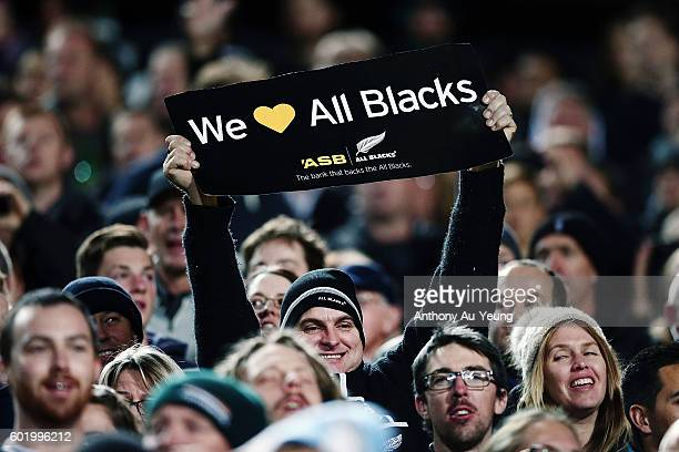 Fans enjoying the atmosphere during the Rugby Championship match between the New Zealand All Blacks and Argentina at Waikato Stadium on September 10...