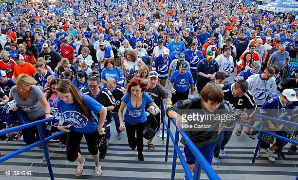 Fans enter Amalie Arena for opening night as the Philadelphia Flyers take on the Tampa Bay Lightning on October 8 2015 in Tampa Florida