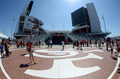 Fans enter before the San Francisco 49ers play against the San Diego Chargers during a preseason game at Levi's Stadium on August 24 2014 in Santa...
