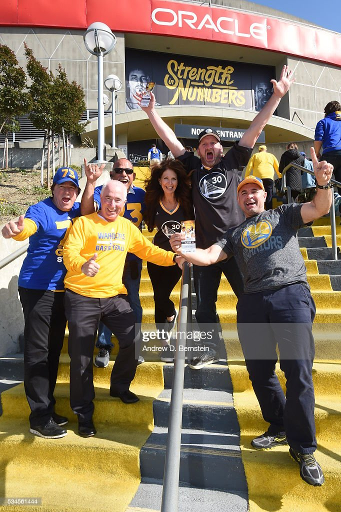 Fans enter the arena before the game between the Golden State Warriors and the Oklahoma City Thunder in Game Five of the Western Conference Finals during the 2016 NBA Playoffs on May 26, 2016 at ORACLE Arena in Oakland, California.