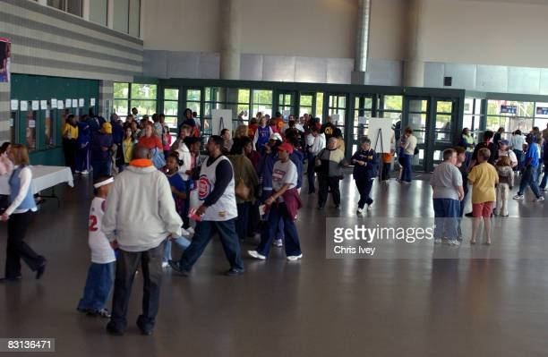 Fans enter the arena before the San Antonio Silver Stars play against the Detroit Shock in Game Three of the WNBA Finals on October 5 2008 at the...