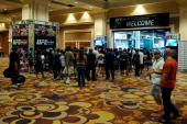 Fans enter the convention hall during the UFC Fan Expo 2014 during UFC International Fight Week at the Mandalay Bay Convention Center on July 6 2014...