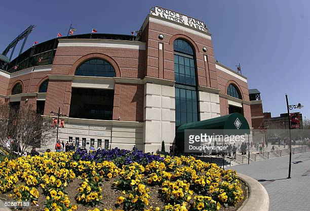 Fans enter the park on opening day as the Oakland Athletics face the Baltimore Orioles at Oriole Park at Camden Yards on April 4 2005 in Baltimore...