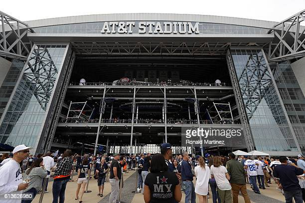 Fans enter the stadium prior to the game between the Dallas Cowboys and Cincinnati Bengals at ATT Stadium on October 9 2016 in Arlington Texas