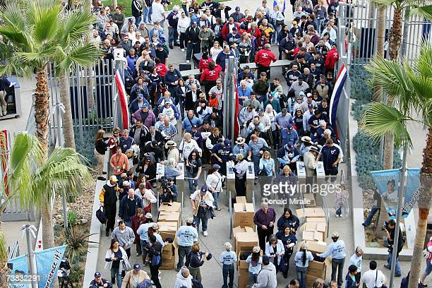 Fans enter through the turnstiles before Opening Night at Petco Park between the Colorado Rockies and the San Diego Padres on April 6 2007 in San...