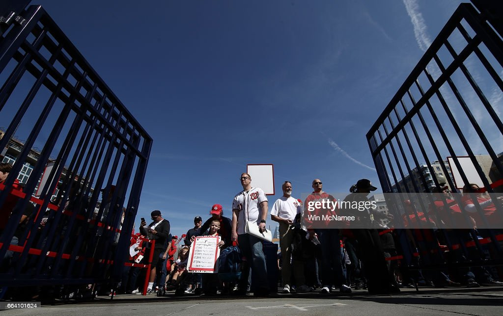 Fans enter Washington's Nationals Park as the gates open for Opening Day of the Major League Baseball season April 3, 2017 in Washington, DC. The Nationals will play the Miami Marlins in the first game of the year in the nation's capital.