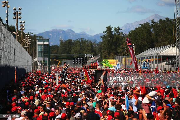 Fans fill the pit straight after the Formula One Grand Prix of Italy at Autodromo di Monza on September 6 2015 in Monza Italy