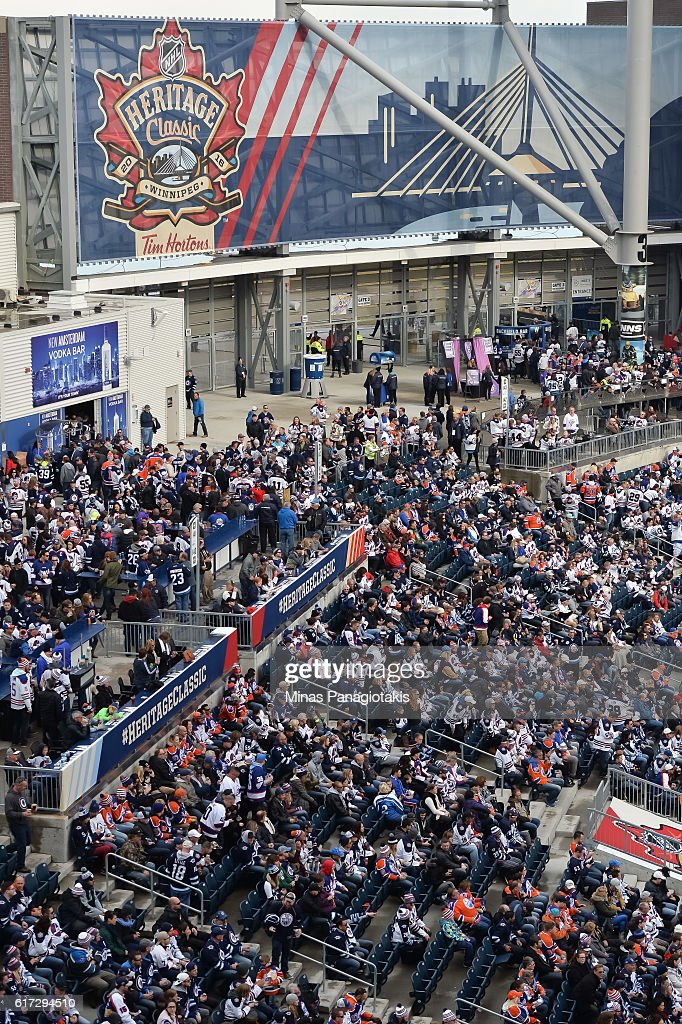 Fans fill the seats during the 2016 Tim Hortons NHL Heritage Classic alumni game at Investors Group Field on October 22, 2016 in Winnipeg, Canada.