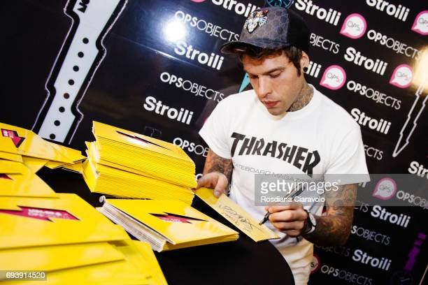 Fans flock to meet Fedez at Stroili Oro Store Cso Buenos Aires Milan on June 8 2017 in Milan Italy