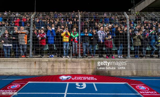 Fans follow the warm up during the FIFA 2018 World Cup Qualifier between Luxembourg and France at Stade Josy Barthel on March 25 2017 in Luxembourg