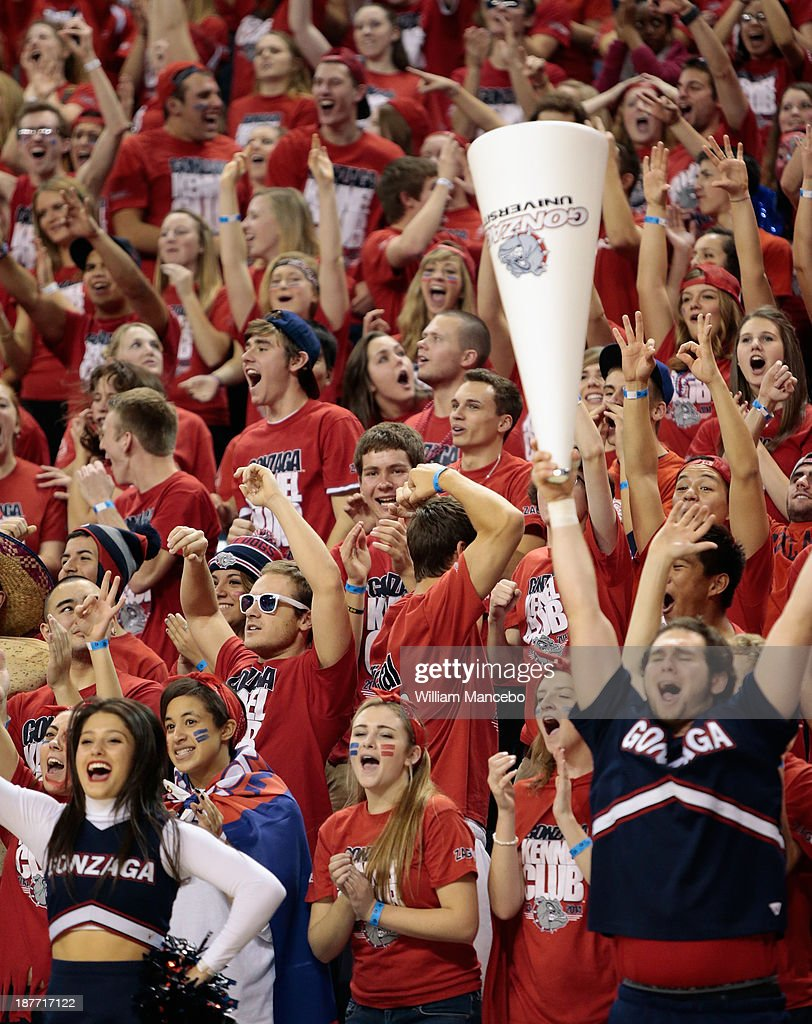 Fans for the Gonzaga Bulldogs cheer for their team during the game against the Colorado State Rams at McCarthey Athletic Center on November 11, 2013 in Spokane, Washington.