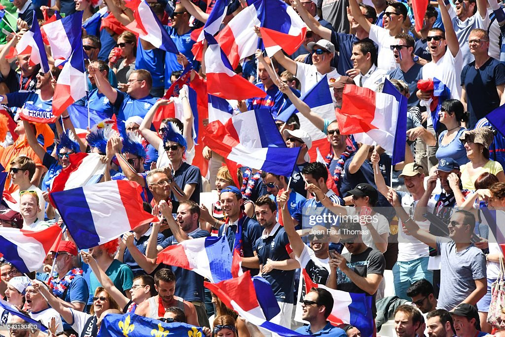 Fans France during the European Championship match Round of 16 between France and Republic of Ireland at Stade des Lumieres on June 26, 2016 in Lyon, France.