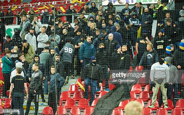 Fans from Brondby IF making a demonstration after the DBU Pokalen Cup Semifinal match between FC Copenhagen and Brondby IF at Telia Parken Stadium on...
