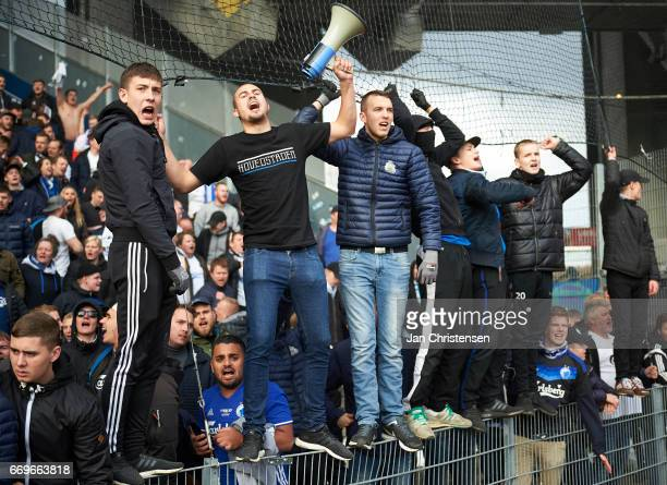 Fans from FC Copenhagen celebrates after the Danish Alka Superliga match between Brondby IF and FC Midtjylland at Brondby Stadion on April 17 2017 in...