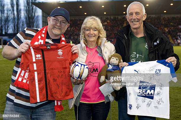Fans from Lincoln City and Tranmere Rovers with memorabilia for the Bradley Lowrey appeal before the Vanarama National League match between Lincoln...