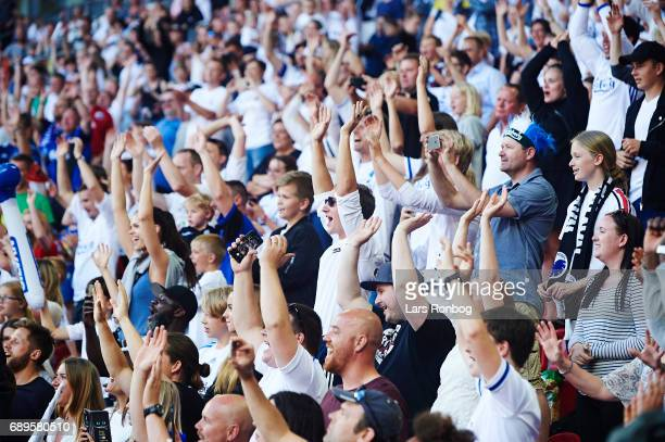 Fans from the family stand cheer after the Danish Alka Superliga match between FC Copenhagen and Sonderjyske at Telia Parken Stadium on May 28 2017...