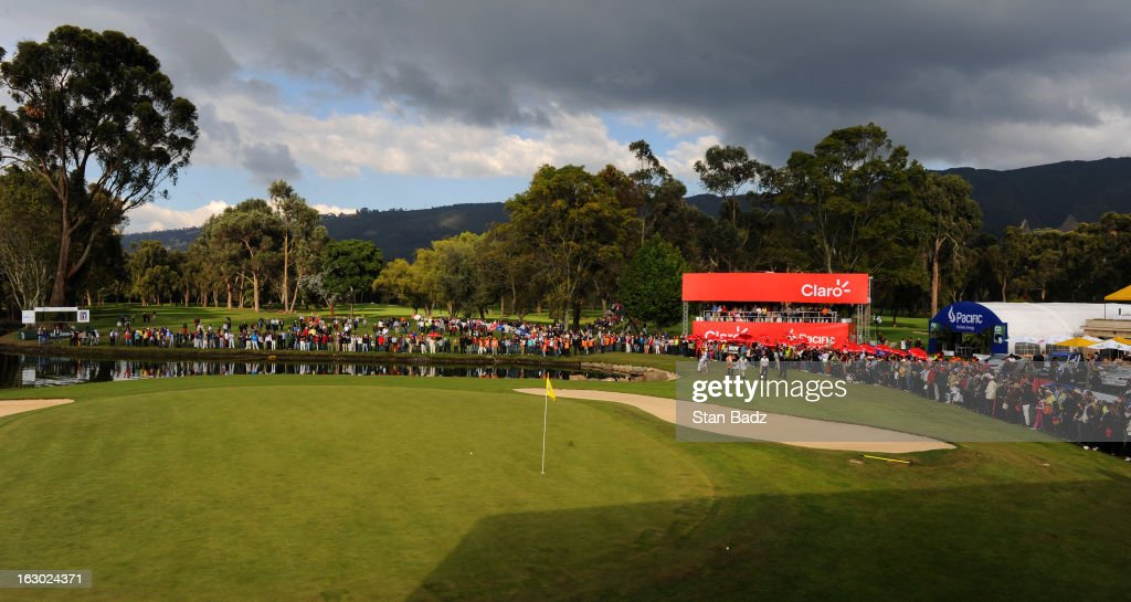 Fans gather around the 18th green during the final round of the Colombia Championship at Country Club de Bogota on March 3, 2013 in Bogota, Colombia.