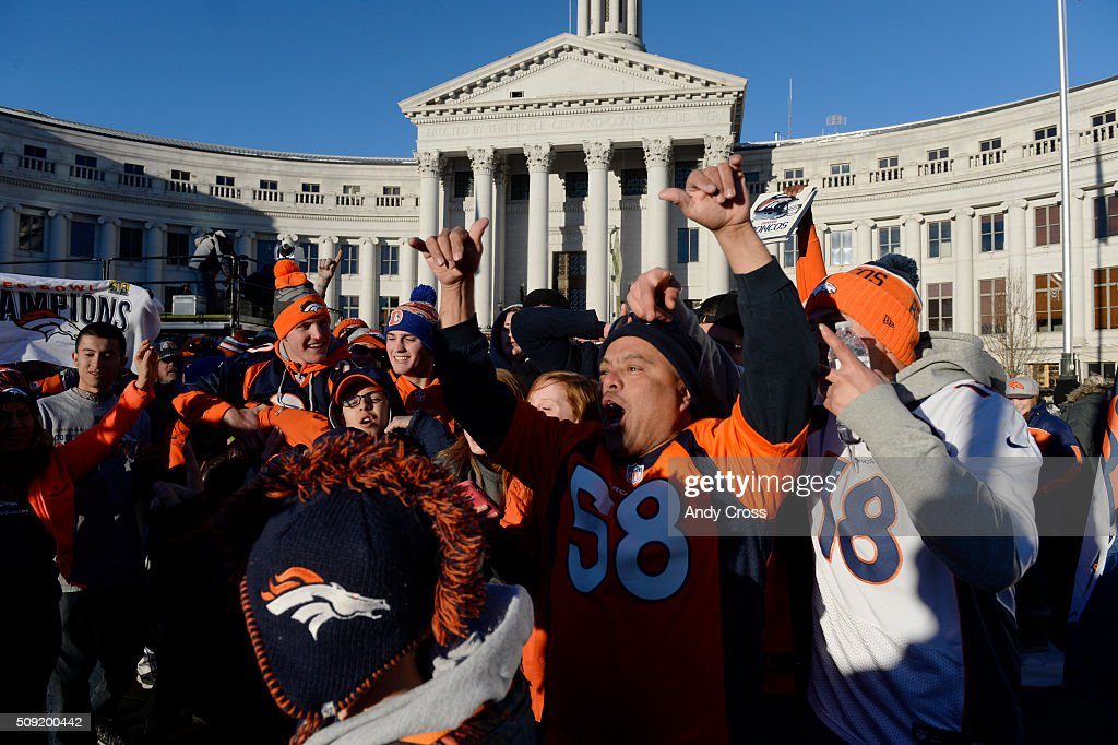 Fans gather at Civic Center Park for the Denver Broncos Super Bowl 50 celebration February 07, 2016.