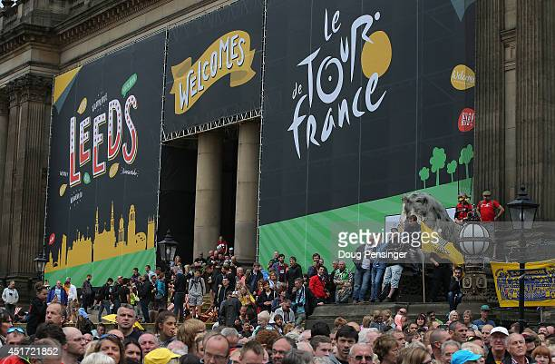 Fans gather at the start of stage one for Le Grand Depart of the 2014 Le Tour de France from Leeds to Harrogate on July 5 2014 in Leeds United Kingdom