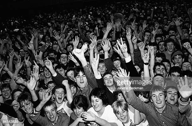 Fans gather excitedly at The Jam's farewell concert at the Brighton Centre 1982