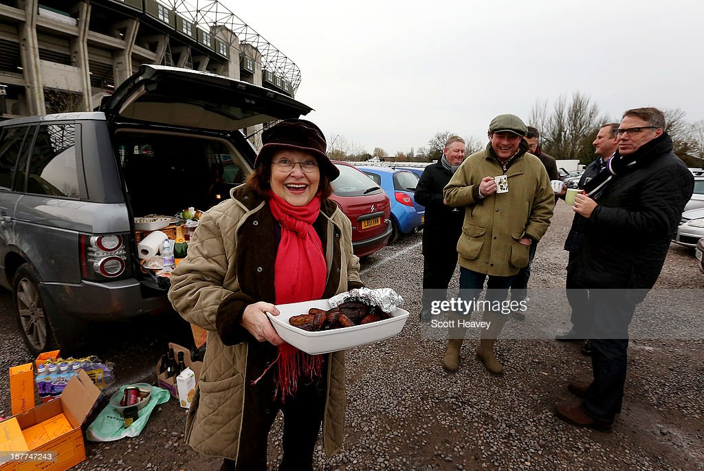 Fans gather for lunch prior to the Varsity Match between Oxford University and Cambridge University at Twickenham Stadium on December 6, 2012 in London, England.