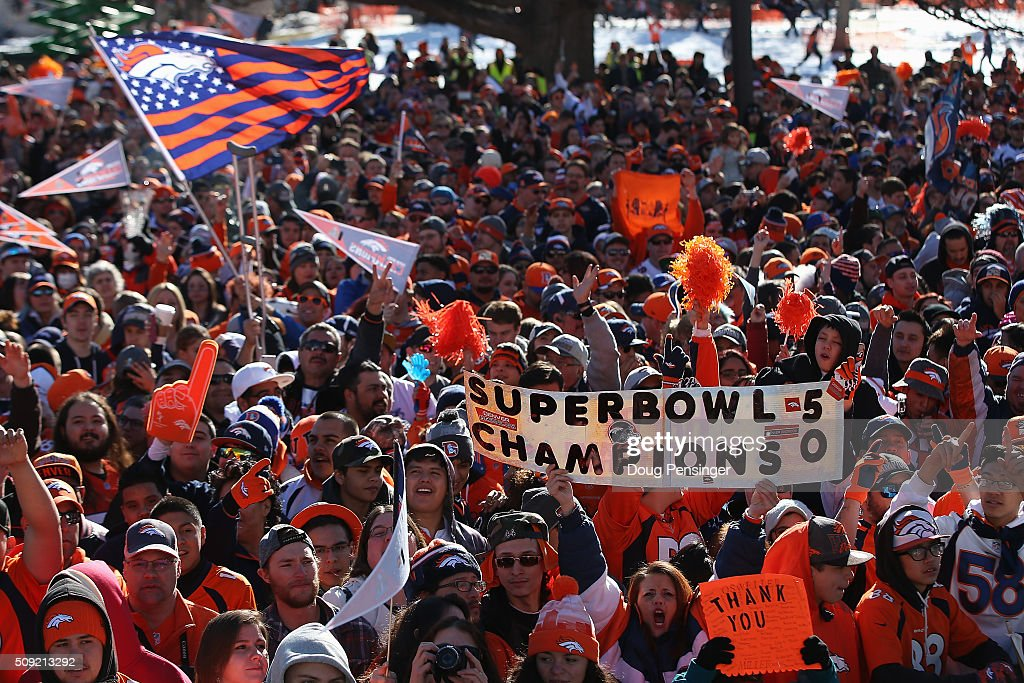 Fans gather in Civic Center Park in front of the Colorado State Capitol to celebrate the Super Bowl 50 Champion Denver Broncos at the Denver City and County Building on February 9, 2016 in Denver, Colorado. The Broncos defeated the Panthers 24-10 in Super Bowl 50.
