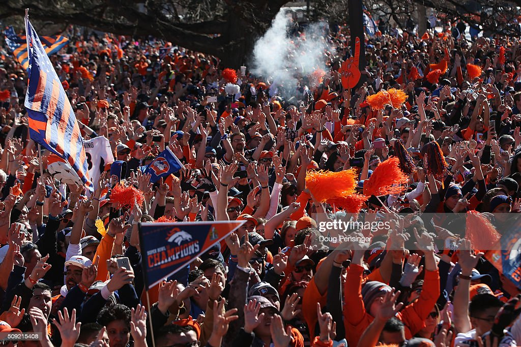 Fans gather in Civic Center Park in front of the Colorado State Capitol to celebrate the Super Bowl 50 Champion Denver Broncos at a rally on the steps of the Denver City and County Building on February 8, 2016 in Denver, Colorado. The Broncos defeated the Carolina Pathers 24-10 in Super Bowl 50.