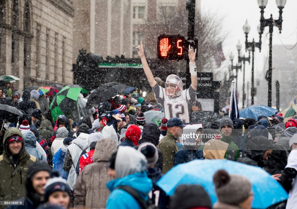 Fans gather in Copley Square before the start of a New England Patriots victory parade on February 7, 2017 in Boston, Massachusetts. The Patriots defeated the Atlanta Falcons 34-28 in overtime in Super Bowl 51.
