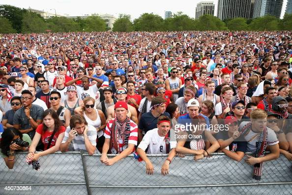 Fans gather in Grant Park to watch the US play Ghana in a World Cup soccer match on June 16 2014 in Chicago Illinois The United States defeated Ghana...