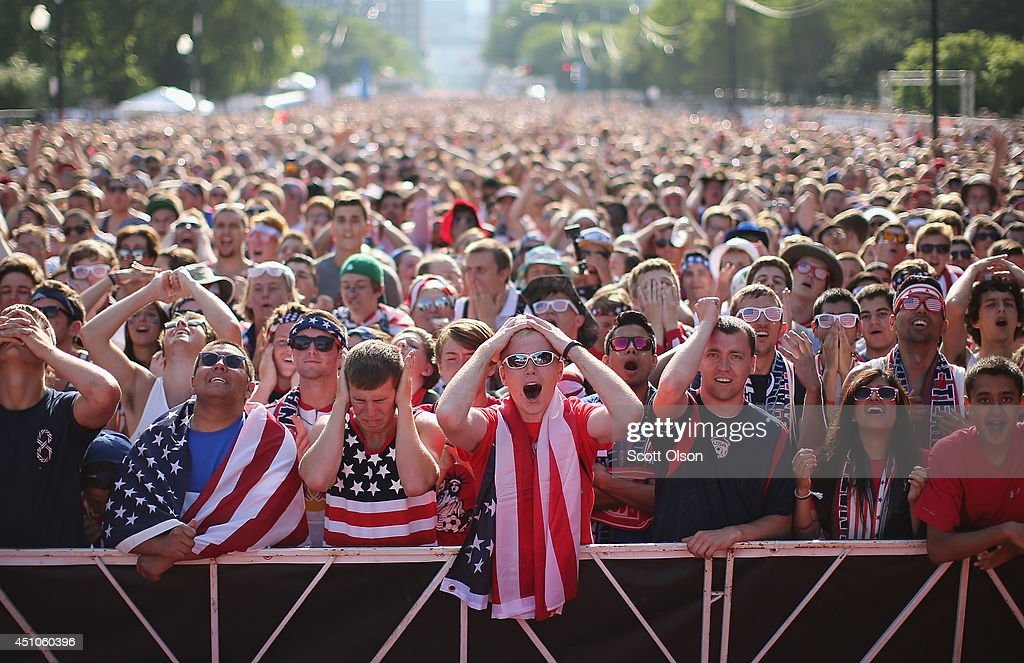 Fans gather in Grant Park to watch the U.S. play Portugal in a Group G World Cup soccer match on June 22, 2014 in Chicago, Illinois. Fans were turned away from the free event after a 10,000-person capacity was reached.