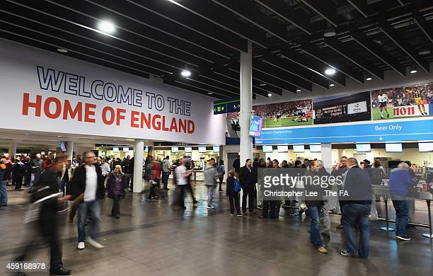 Fans gather on the concourse inside the ground prior to the EURO 2016 Group E Qualifier match between England and Slovenia at Wembley Stadium on...