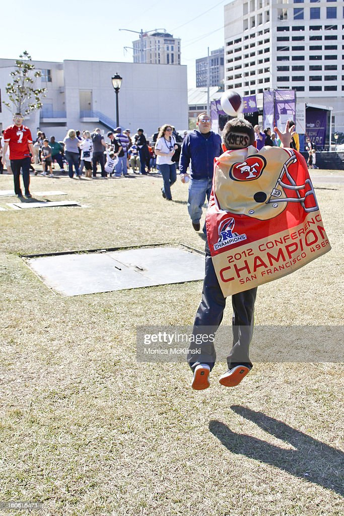 Fans gather on the Verizon Super Bowl Boulevard at Woldenberg Park on February 3, 2013 in New Orleans, Louisiana.