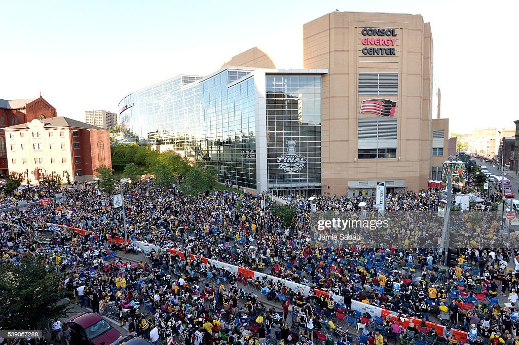 Fans gather outside Consol Energy Center to watch Game Five of the 2016 NHL Stanley Cup Final between the Pittsburgh Penguins and the San Jose Sharks...