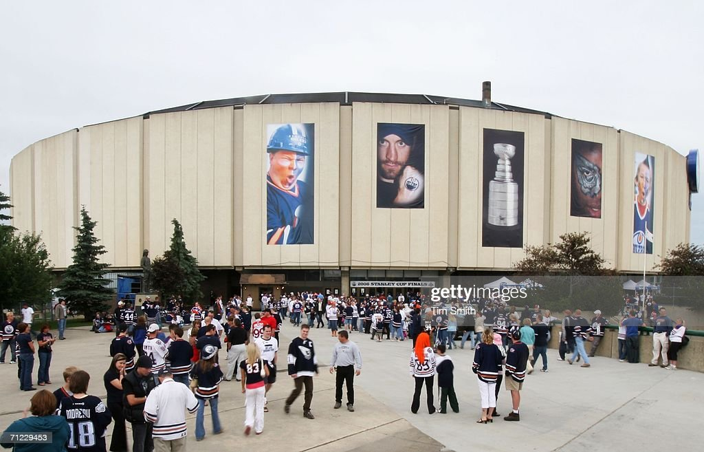 Fans gather outside of Rexall Place before the start of game six of the 2006 NHL Stanley Cup Finals against the Edmonton Oilers and the Carolina...