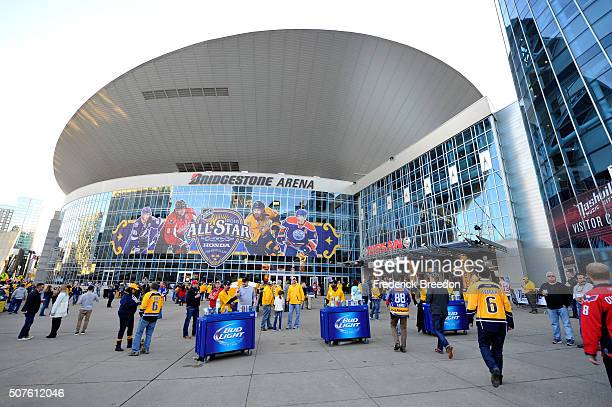 Fans gather outside of the arena prior to the 2016 Honda NHL AllStar Skill Competition at Bridgestone Arena on January 30 2016 in Nashville Tennessee