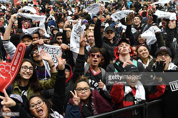 Fans gather outside the arena before the game between the Toronto Raptors and the Indiana Pacers in Game Five of the Eastern Conference Quarterfinals...
