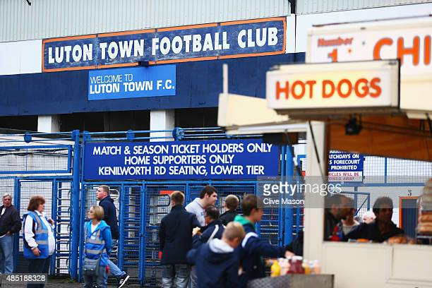 Fans gather outside the ground prior to the Capital One Cup second round match between Luton Town and Stoke City at Kenilworth Road on August 25 2015...